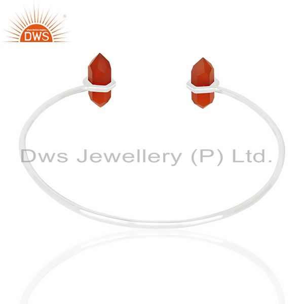 Indian Handmade Red Onyx Terminated Pencil Point Openable 92.5 Sterling Silver Bangle