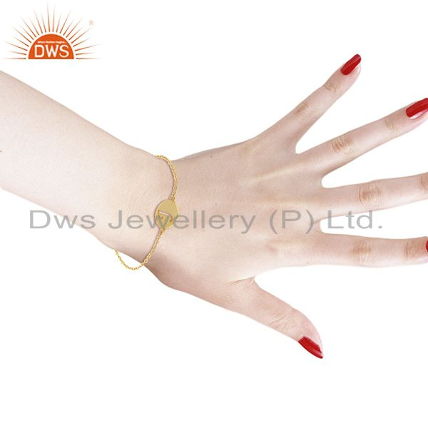 Indian Manufacturer of J Initial Sleek Chain 14K Gold Plated 92.5 Sterling Silver Wholesale Bracelet
