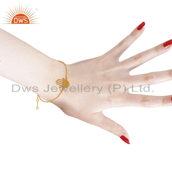 Suppliers Hamsa 925 Sterling Silver 18k Yellow Gold Plated Hand Bracelet