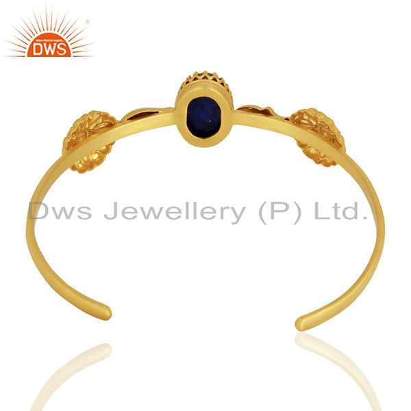 Suppliers Gold Plated 925 Silver Lapis Gemstone Cuff Bangle Bracelet Jewelry