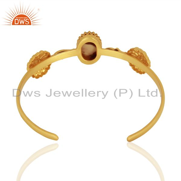 Suppliers Mother of Pearl Gemstone Gold Plated Silver Cuff Bracelet Manufacturer