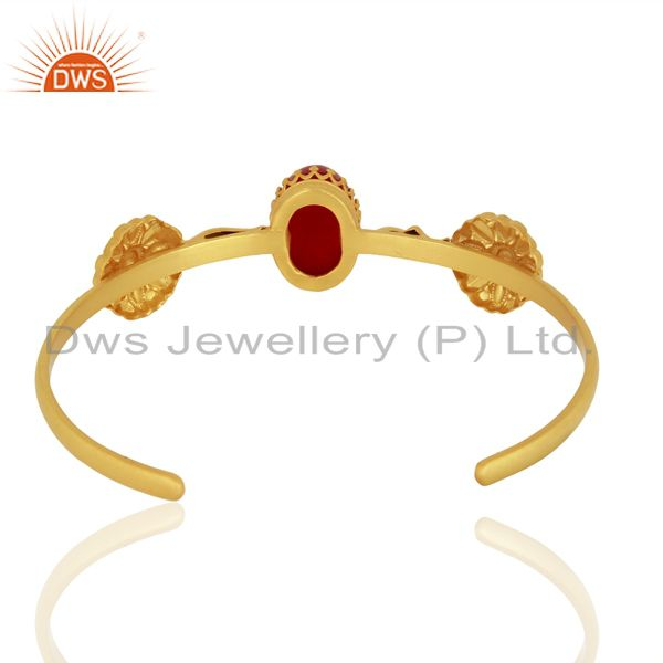 Suppliers Red Aventurine Gemstone Gold Plated 925 Silver Cuff Bangle Bracelet