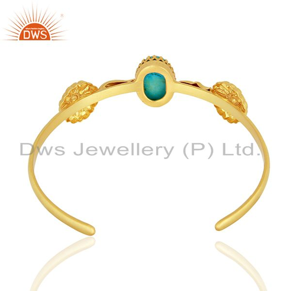 Suppliers Natural Turquoise Gemstone Gold Plated Silver Fashion Cuff Bracelet