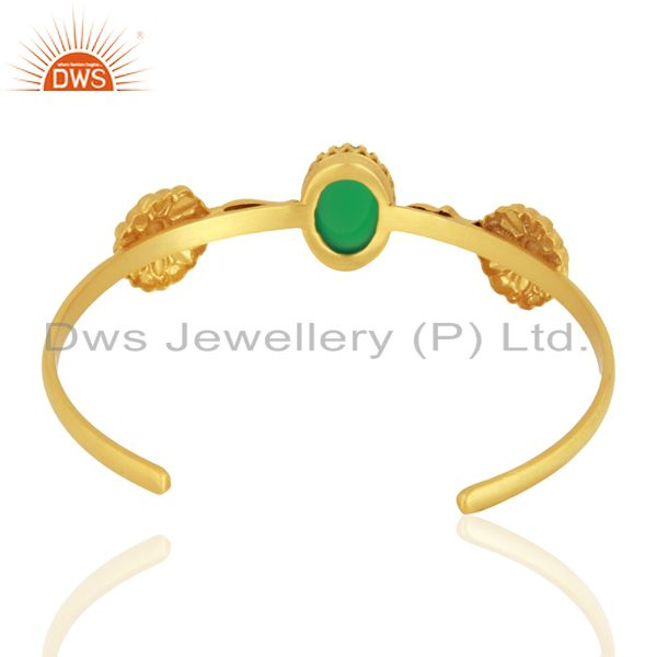 Suppliers Handmade Gold Plated 925 Silver Green Onyx Gemstone Cuff Bangle