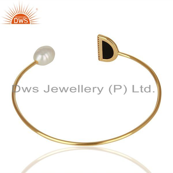 Suppliers Natural Pearl and Black Onyx Gemstone Solid Silver Cuff Bracelet