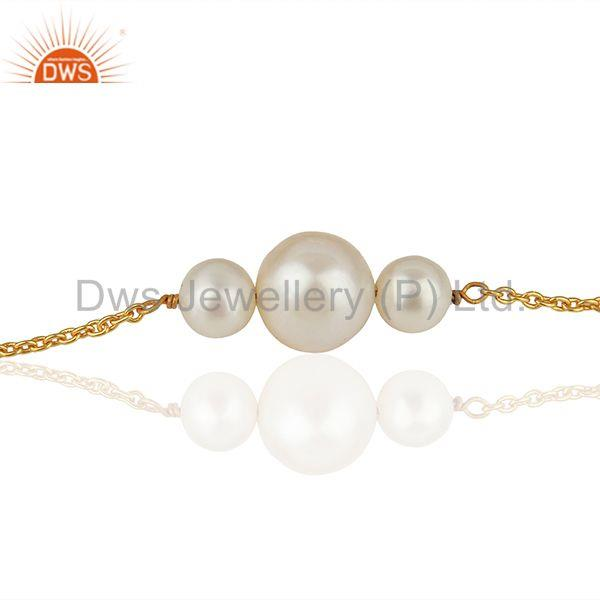 Suppliers Natural Pearl Gold Plated 925 Silver Chain Bracelet Wholesale