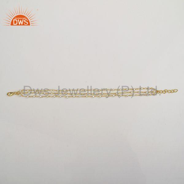 Suppliers Multi Strand 925 Silver Gold Plated Beaded Pearl Bracelet Manufacturer