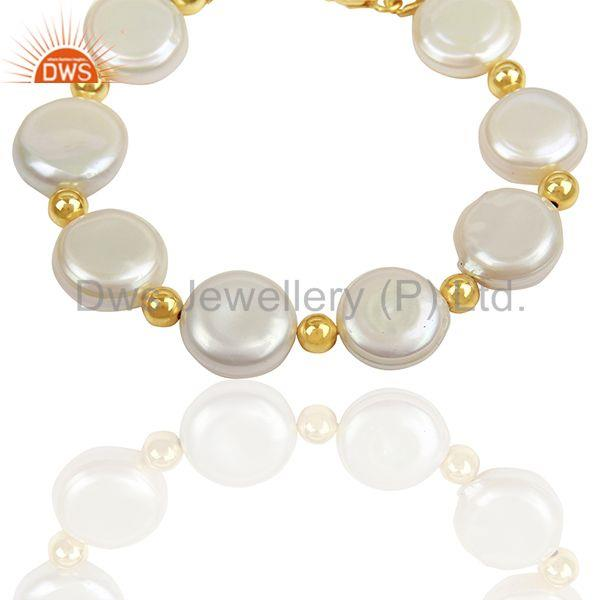Suppliers Natural Pearl Gold Plated Solid Silver Chain bracelet Manufacturer
