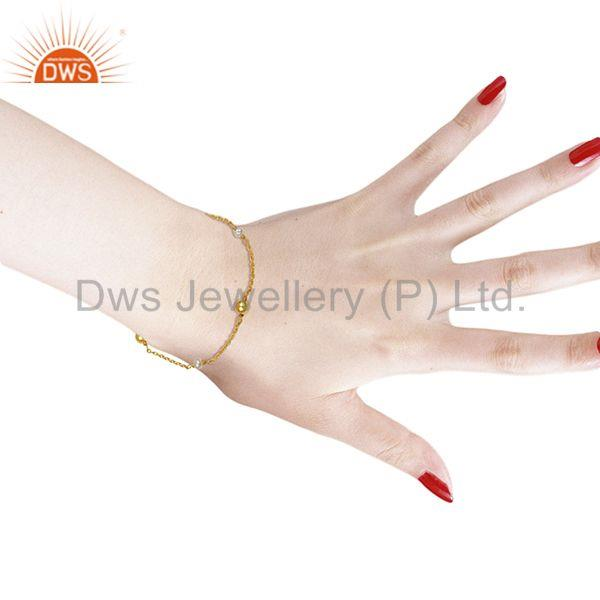 Suppliers Natural Pearl and Gold Plated 925 Silver Ball Beads Chain Bracelet