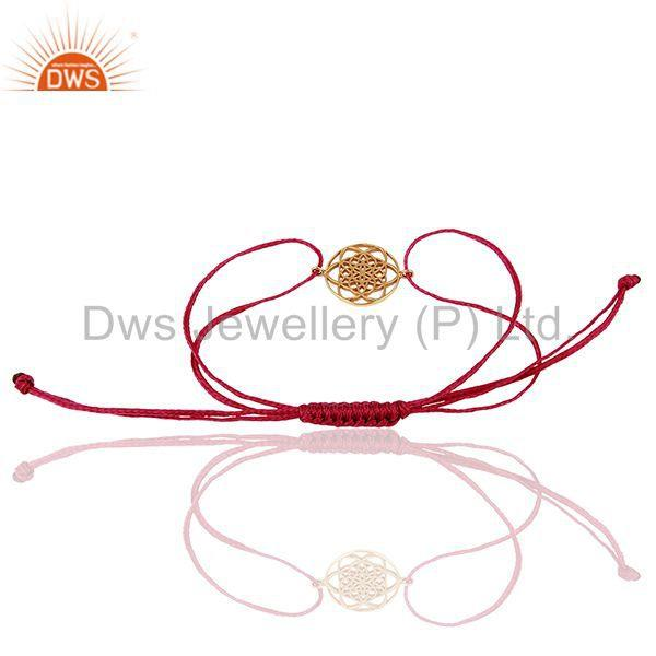 Suppliers Flower Of Life 925 Sterling Silver Rose Gold Plated Pink Thread Bracelet