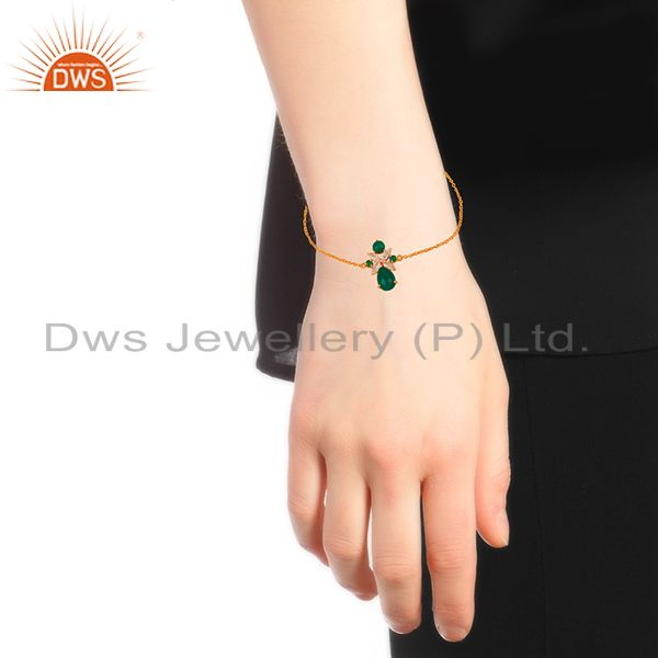 Suppliers Crystal Quartz and Green Onyx Gemstone 925 Silver Bracelet Wholesale