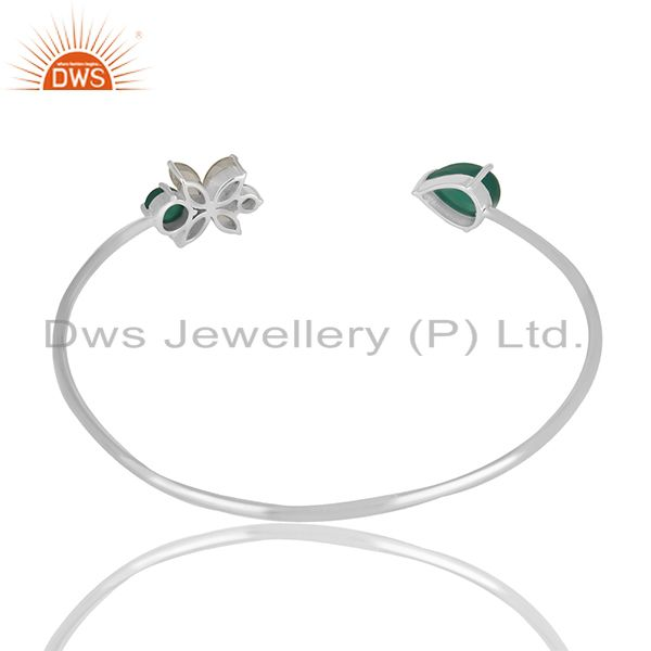 Suppliers Fine Sterling Silver Green Onyx Gemstone Cuff Bracelet Manufacturer