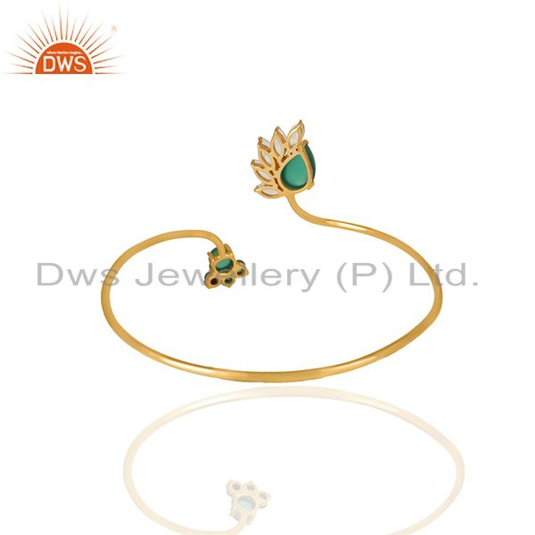 Suppliers Handmade Gold Plated 925 Silver Multi Gemstone Cuff Bracelet Jewelry