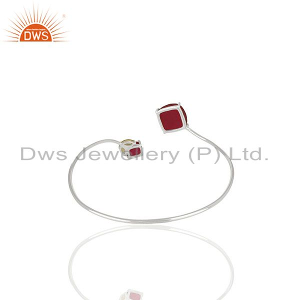 Wholesale Supplier of Ruby and Peridot Gemstone 925 Silver Cuff Bracelet Manufacturer