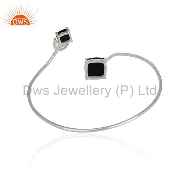 Wholesale Supplier of Sterling 92.5 Fine Silver Black Onyx Gemstone Custom Cuff Bracelet Manufacturers