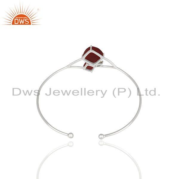 Wholesale Supplier of 925 Silver Peridot and Red Ruby Gemstone Cuff Bracelet Wholesale