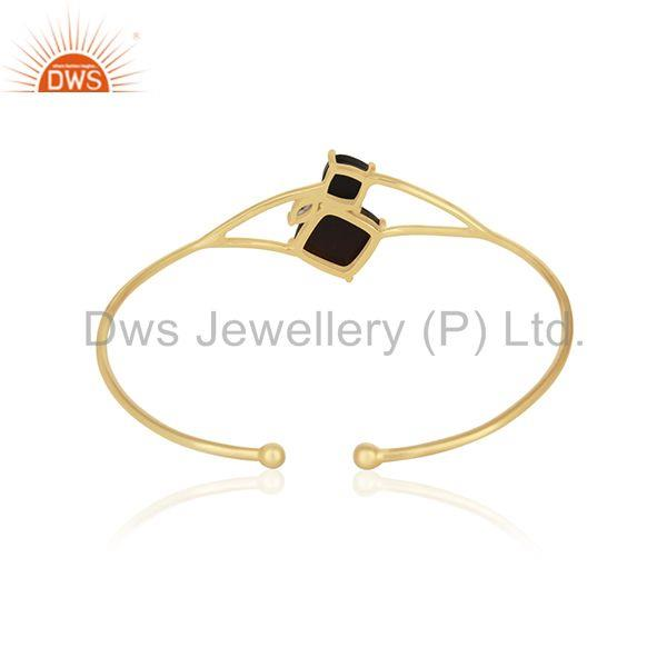 Wholesale Supplier of Black Onyx Gemstone Handmade 14k Gold Plated 925 Silver Cuff Bracelet Wholesale