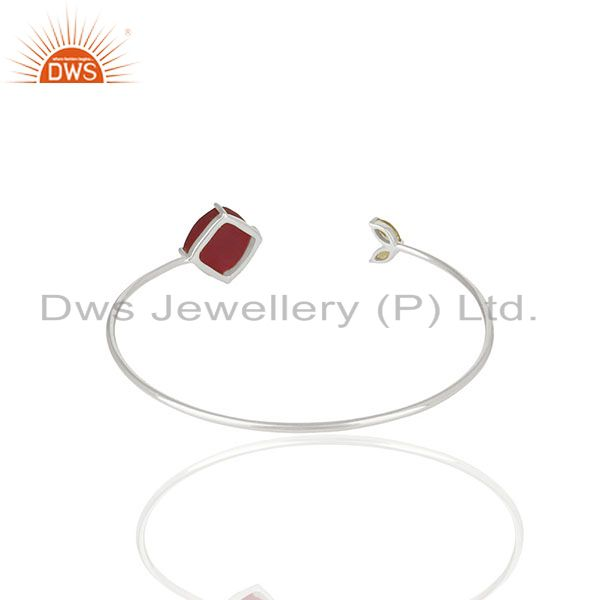 Wholesale Supplier of Prong Set Peridot and Ruby Gemstone Sterling Silver Cuff Bracelet