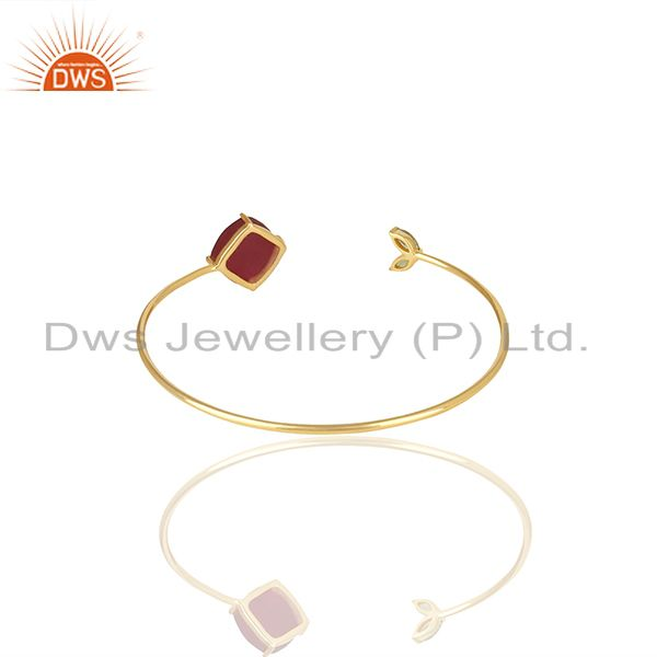 Wholesale Supplier of Handmade 925 Silver Gold Plated Multi Gemstone Cuff Bracelet Supplier