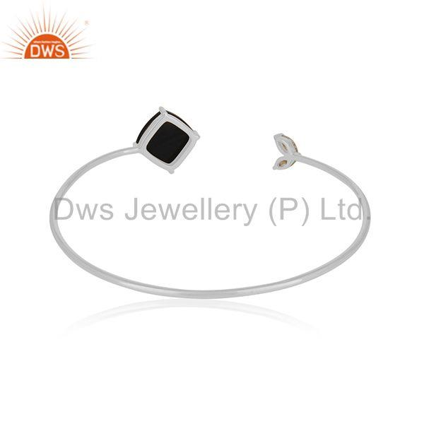 Suppliers White Zircon and Black Onyx Gemstone 925 Silver Cuff Bracelet Wholesale