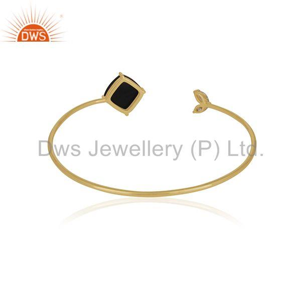 Suppliers 18k Gold Plated 925 Sterling Silver Black Onyx Gemstone Cuff Bracelet Wholesale