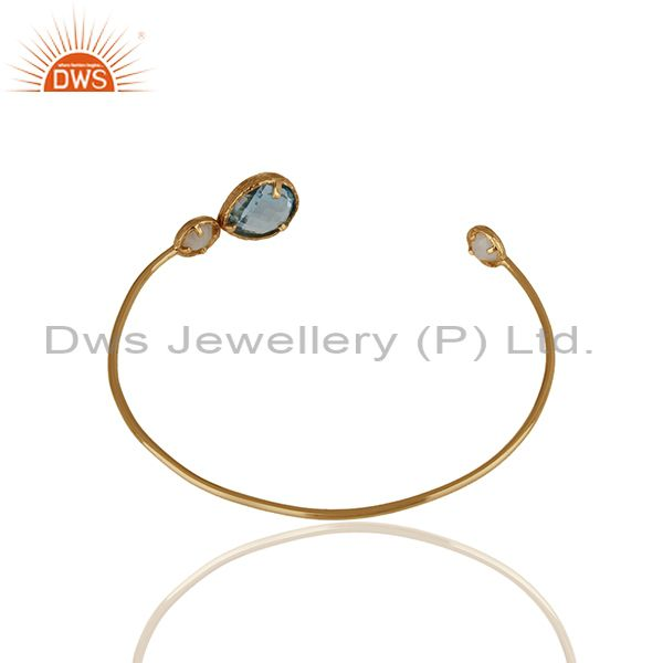 Suppliers Blue Topaz and Moonstone Rainbow Gemstone 925 Silver Cuff Bracelet