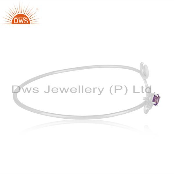 Suppliers Customized Love Initial Sterling Silver Gemstone Cuff Bracelet Manufacturer
