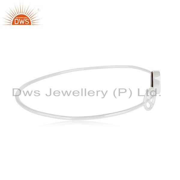 Wholesalers of Customized peace sign 925 silver black onyx cuff bangle manufacturer