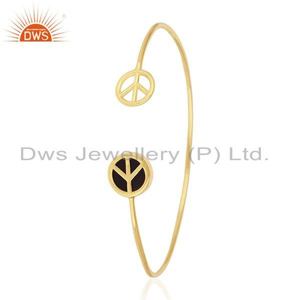 Wholesalers of 18k gold plated 925 silver onyx lucky peace sign charm cuff bangle