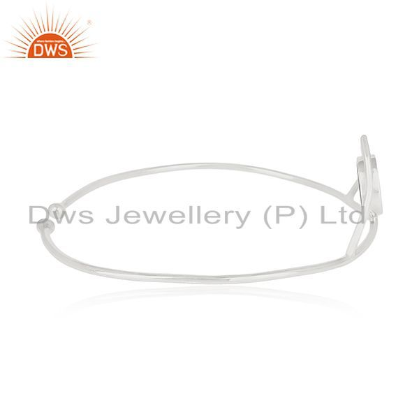 Wholesalers of Handmade 925 silver lucky peace sign charm cuff bangle manufacturers