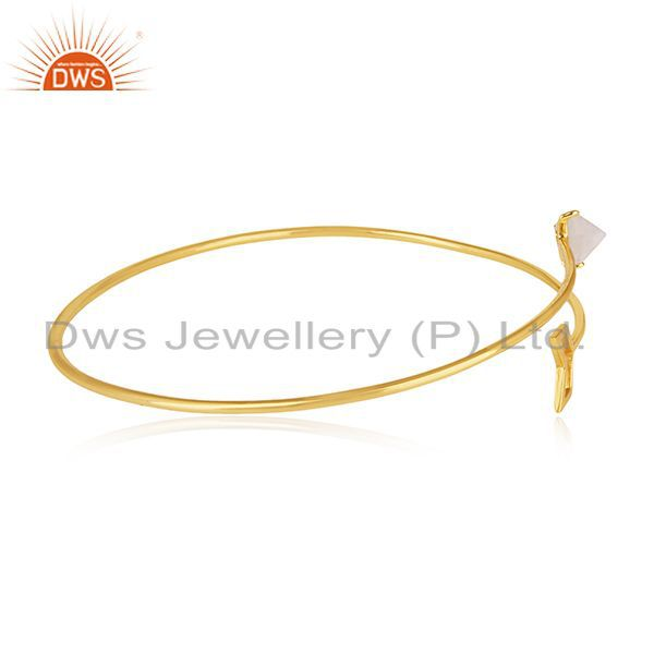 Suppliers 18k Gold Plated Sterling 92.5 Silver Arrow Design Cuff Bracelet Manufacturer