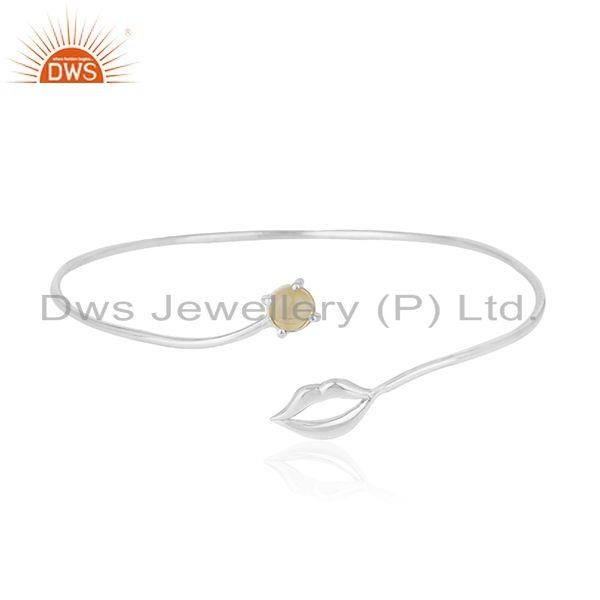 Wholesalers of Lip design 925 silver natural citrine gemstone bangle manufacturer