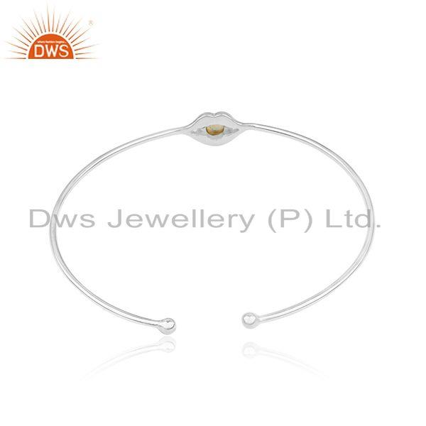 Suppliers Natural Citrine Gemstone 925 Sterling Fine Silver Cuff Bracelet Wholesale