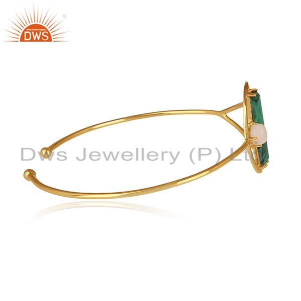 Suppliers Malachite and Moonstone Gold Plated 925 Silver Half Moon Cuff Bangle Wholesale