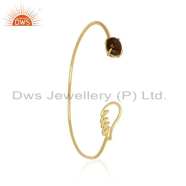 Supplier of Angle Wing 14k Gold Plated 925 Silver Smoky Quartz Cuff Bracelet Manufacturer