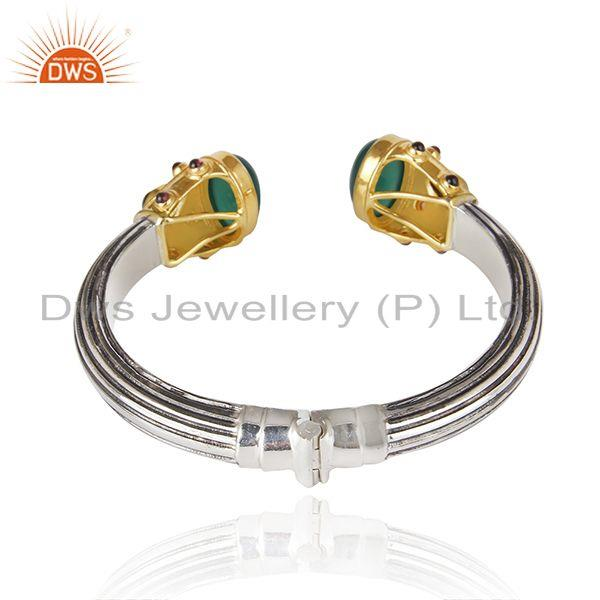 Suppliers Green Onyx Gemstone Oxidized Sterling Silver Bangle Manufacturers