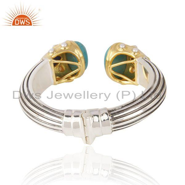 Suppliers Multi Gemstone Gold and Oxidized 925 Silver Handmade Bangle Wholesaler