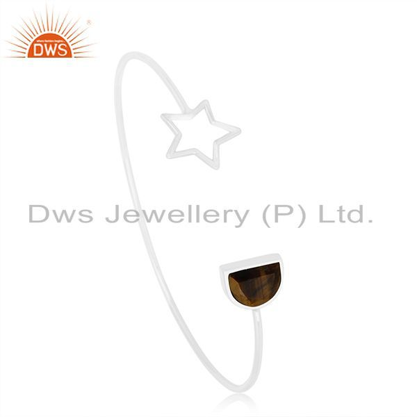 Suppliers New Arrival Tiger Eye Gemstone 925 Silver Star Charm Cuff Bangle For Womens