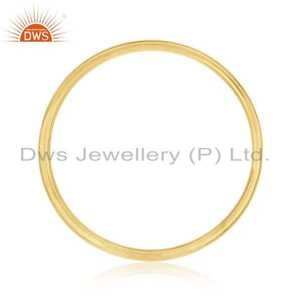 Wholesalers of Handmade 925 sterling silver gold plated simple bangle for womens