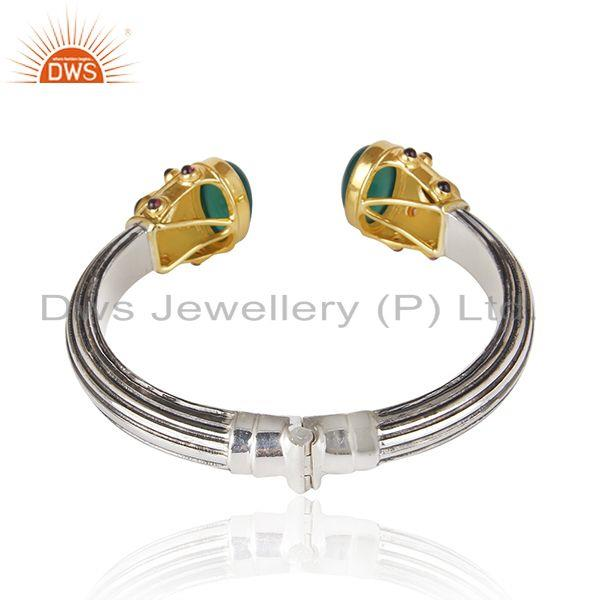 Suppliers Gold Plated and Oxidized Sterling Silver Cuff Bangle Manufacturer