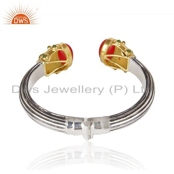 Suppliers Red Coral Gemstone Gold Plated Sterling Silver Oxidized Cuff Bangle