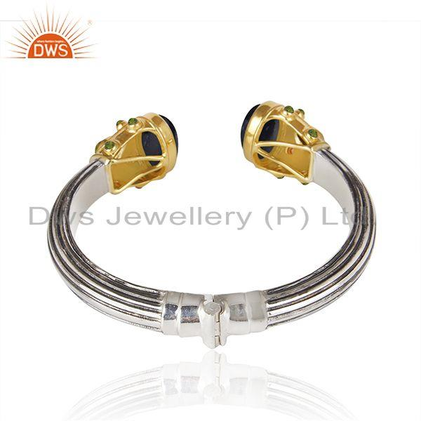 Suppliers Natural Multi Gemstone Multi Color 925 Sterling Sliver Cuff Bangle