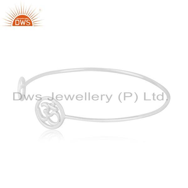 Suppliers Peace and Om Charm Fine 92.5 Sterling Silver Openable Cuff Bracelet Manufacturer