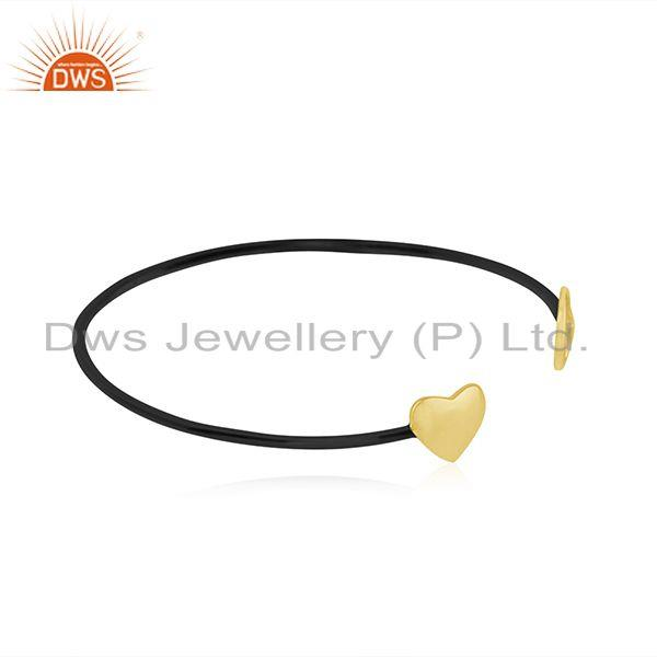 Suppliers Yellow Gold Plated 925 Silver Heart Peace Charm Cuff Bracelet Manufacturer India
