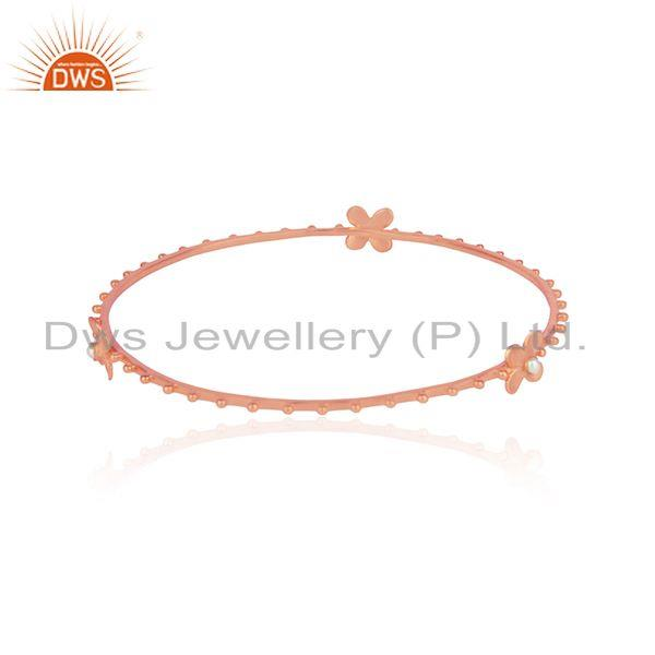 Designer of Designer floral silver rose gold plated bangle with white pearl