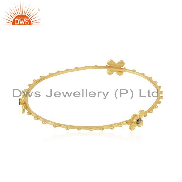 Wholesalers of 14k yellow gold plated 925 silver white zircon bangle manufacturer