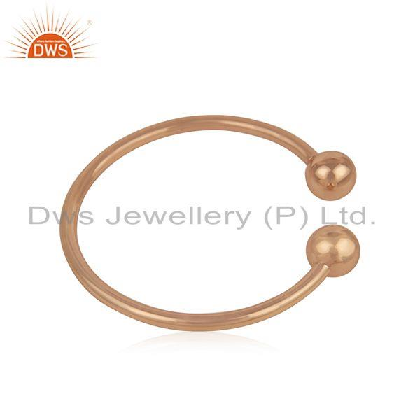 Suppliers Simple 925 Sterling Silver Rose Gold Plated Unisex Cuff Bracelet Manufacturer