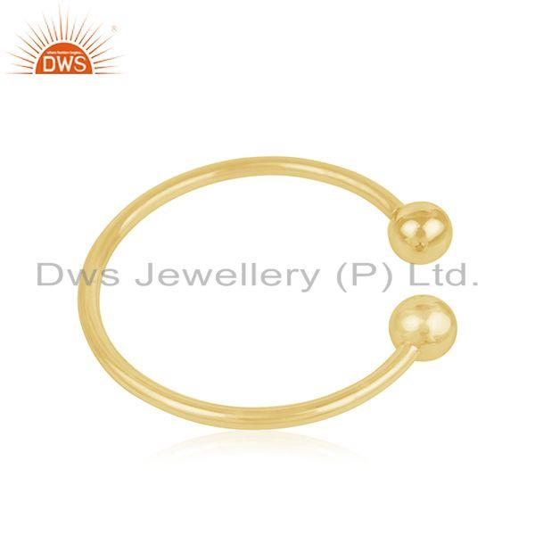 Suppliers 18k Yellow Gold Plated 925 Sterling Silver Simple Cuff Bracelet Manufacturer