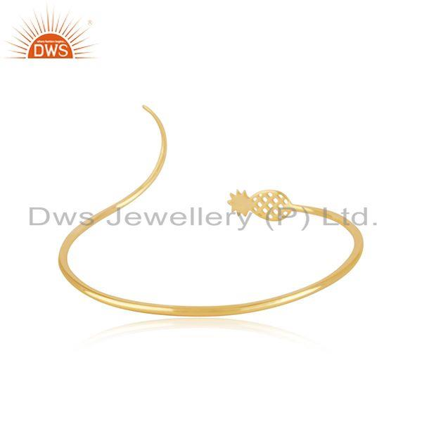 Suppliers Pineapple Design 925 Silver Yellow Gold Plated Cuff Bracelet Manufacturer India