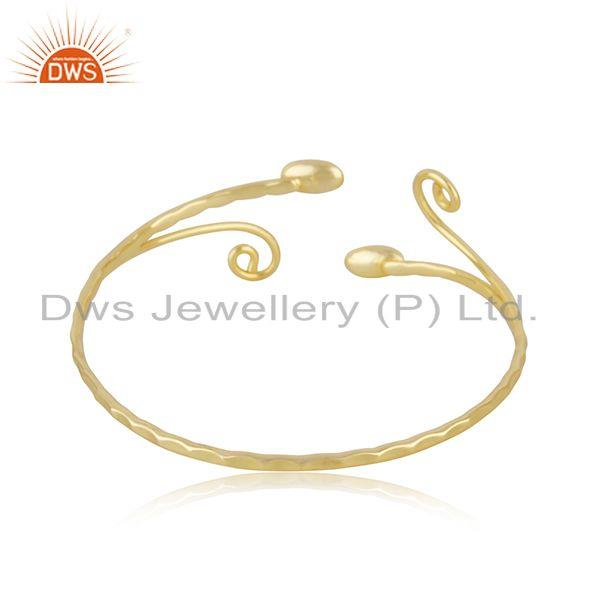Suppliers Handmade 925 Sterling Silver Gold Plated Cuff Bracelet Supplier from INdia